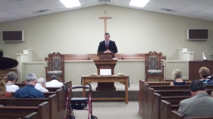 Brent Preaching at Grace Presbyterian Church in Jackson, Tn